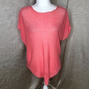 Eileen Fisher Coral Organic Linen Loose Knit Top